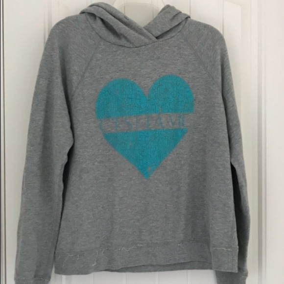Forever 21 Tops - Gray hoodie distressed turquoise heart cest la vie